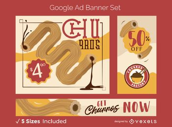 Conjunto de banners de anuncios de Google de comida churro