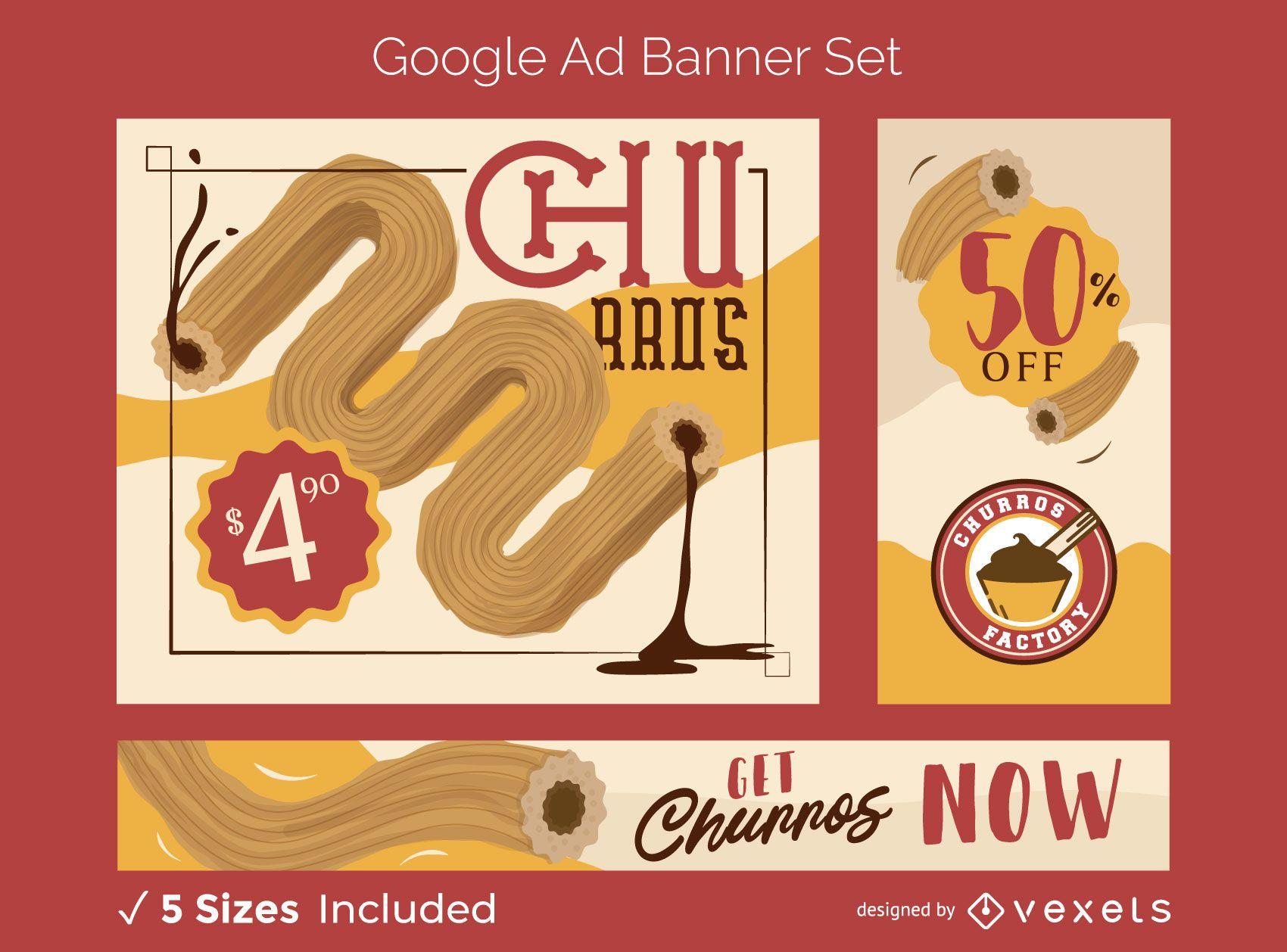 Churro Food Google Ads Banner Set