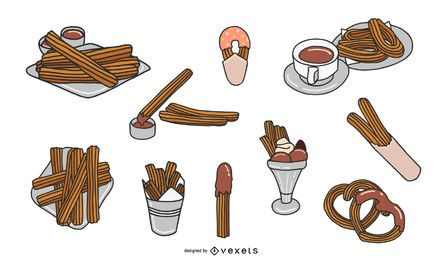 Churro Illustration Design Set