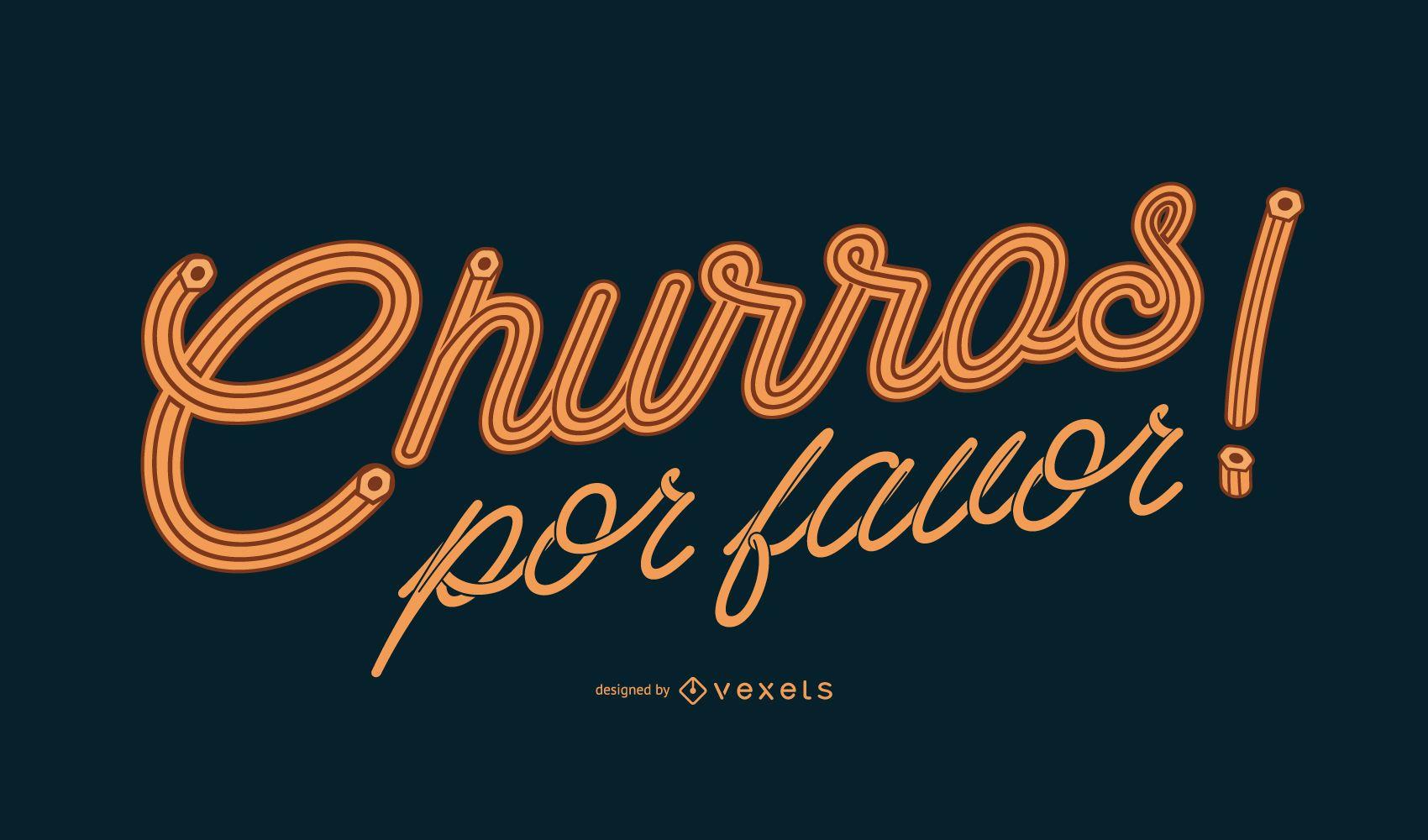 Churros spanish lettering design