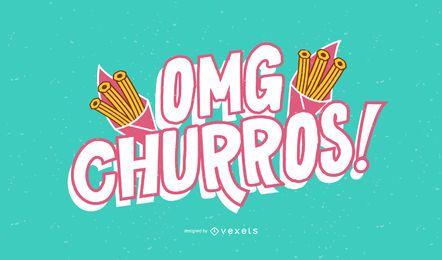 OMG churros lettering design