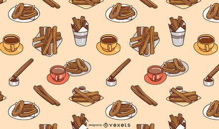 Design de padrão churros plana