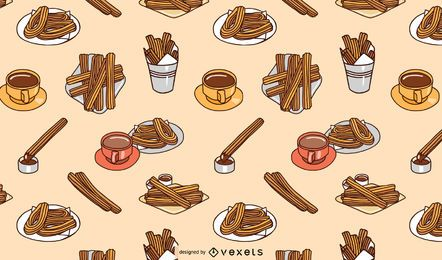 Flaches Churros-Musterdesign
