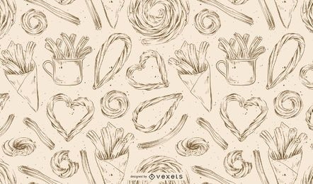 Churros hand drawn pattern
