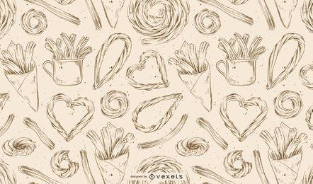 Patrón dibujado a mano churros