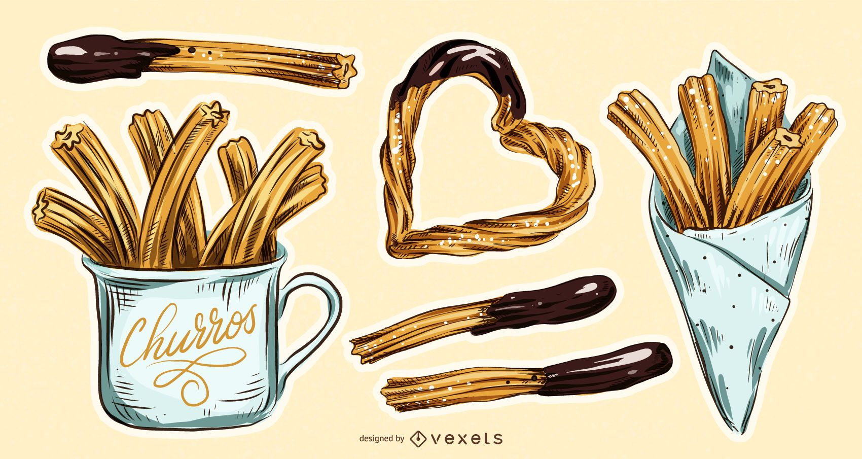 Conjunto de ilustración de comida churros