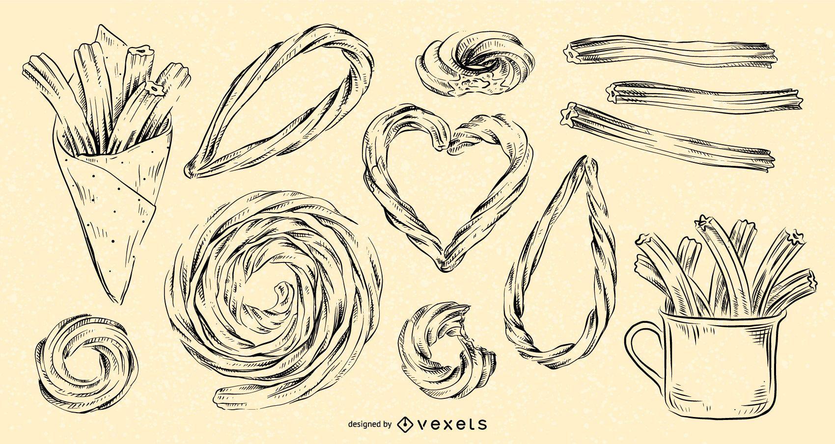 Conjunto de churros dibujados a mano