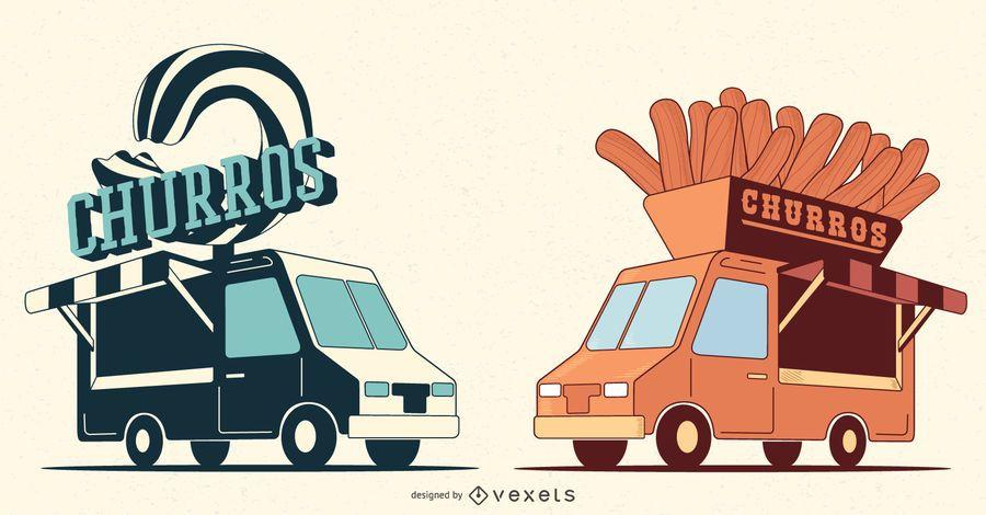 Churro van illustration set