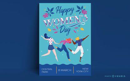 Modelo de pôster feliz do dia da mulher