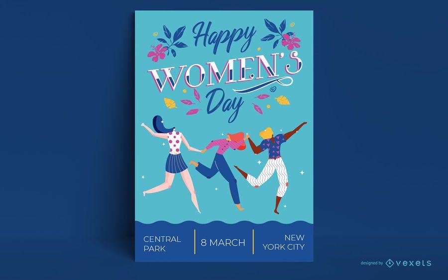 Plantilla de cartel de feliz día de la mujer