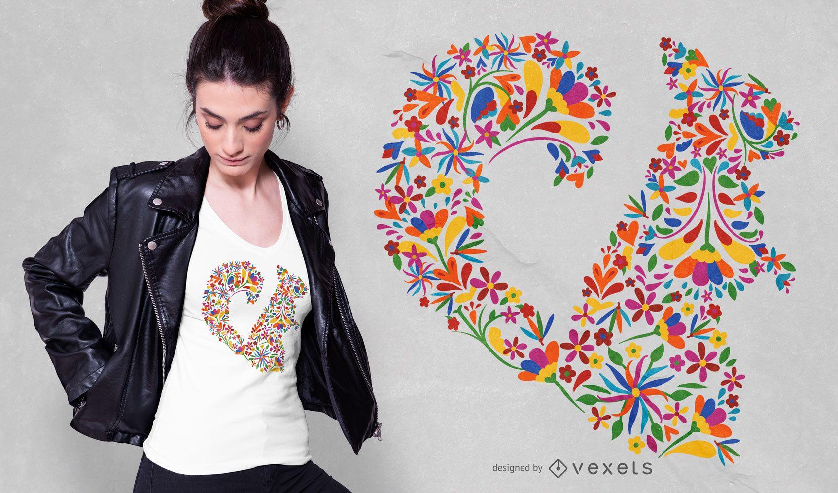 Diseño de camiseta de ardilla floral