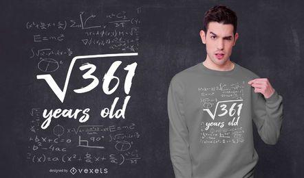 Diseño de camiseta de cumpleaños de 19 años