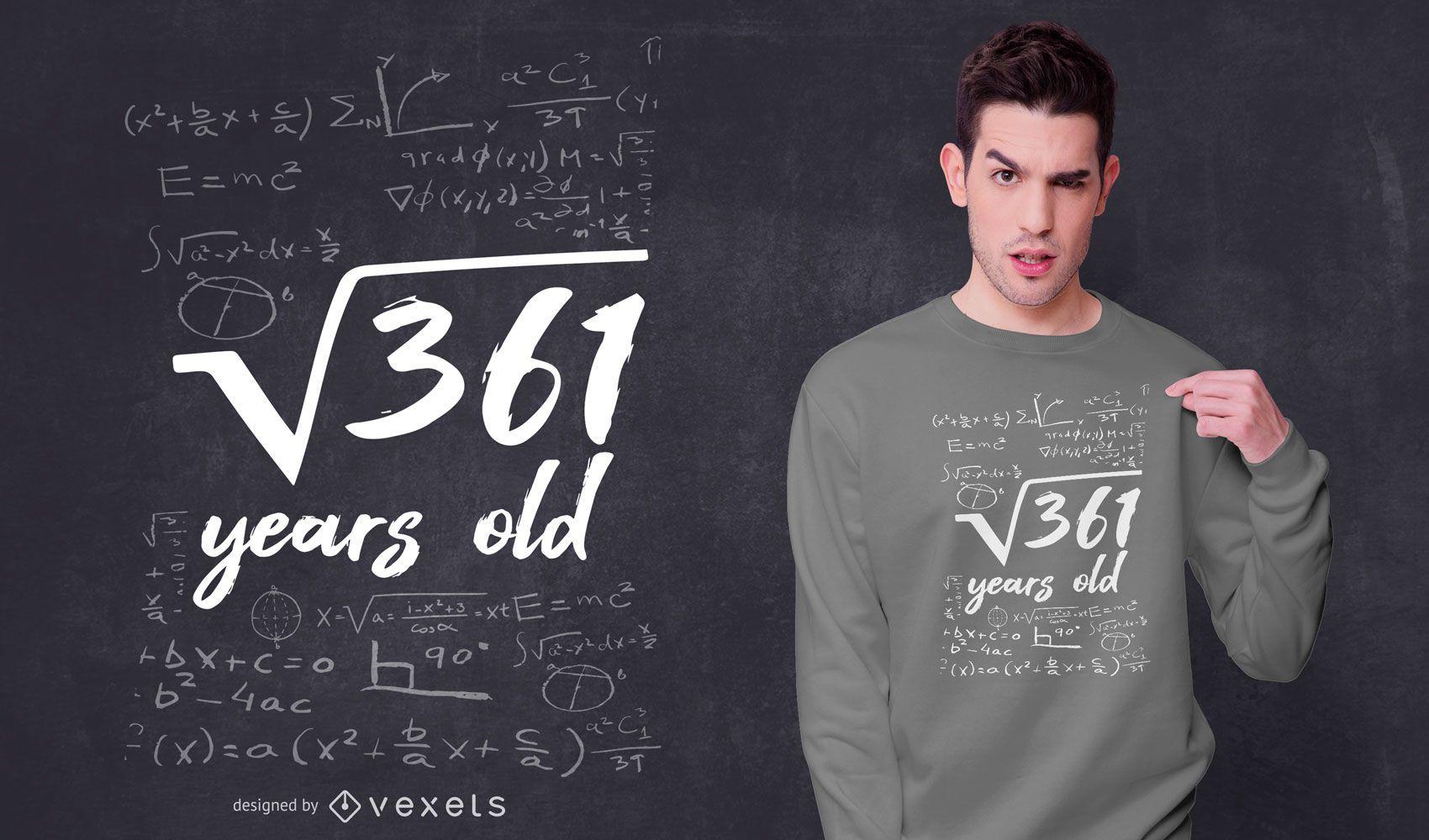19 Jahre altes Geburtstag T-Shirt Design