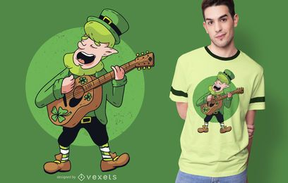 Leprechaun Guitarrist T-shirt Design