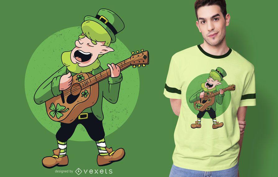 Projeto do t-shirt do guitarrista do duende