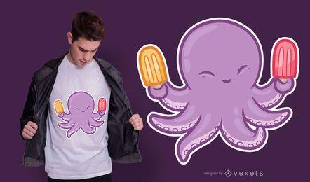 Diseño de camiseta de pulpo lindo