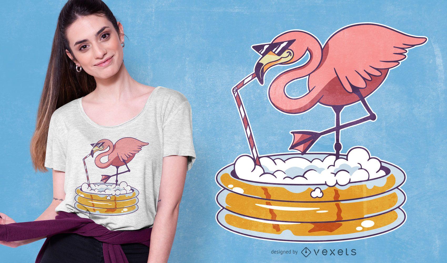 Diseño de camiseta Flamingo Beer Pool