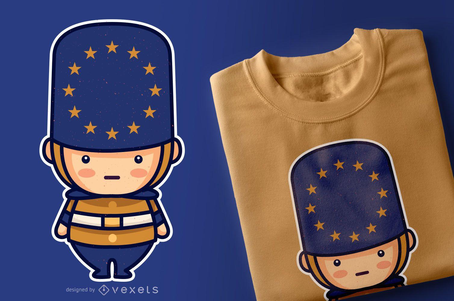 Diseño de camiseta de personaje lindo de la Unión Europea