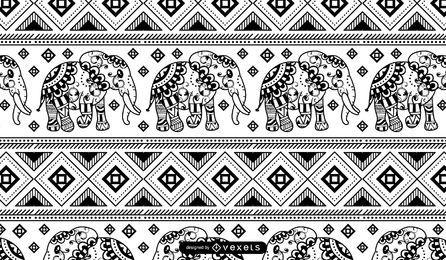Elefante Mandala Patrón Blanco Negro
