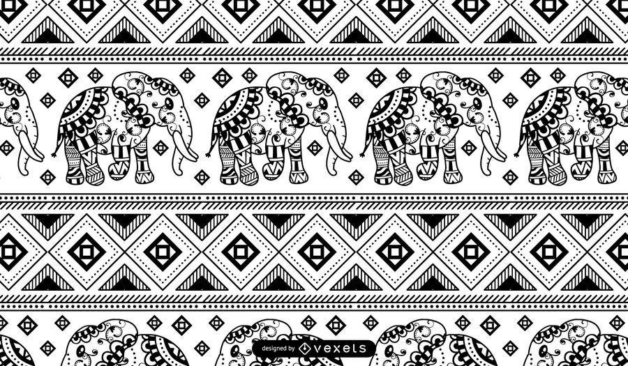 Elephant Mandala Black White Pattern