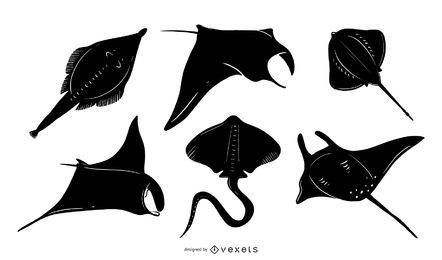 Conjunto de diseño de silueta de manta raya