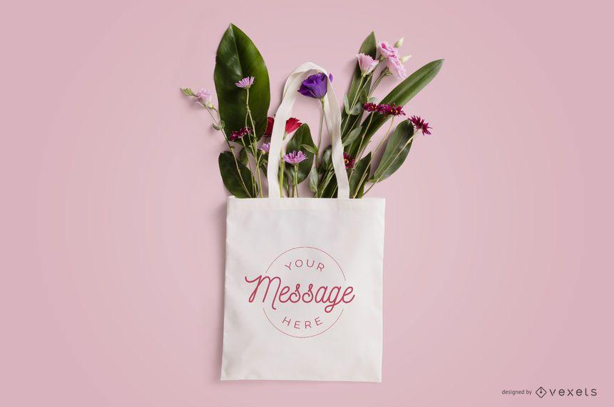 Design de maquete de sacola floral