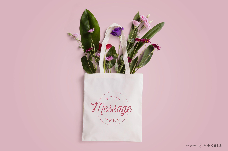 Floral tote bag mockup design