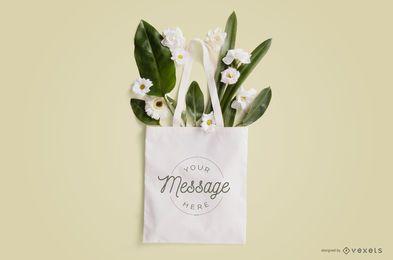 Bolso tote con maqueta de flores