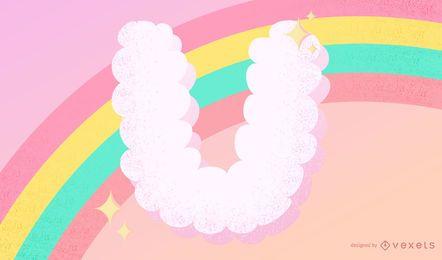 Cloudy U Letter Design