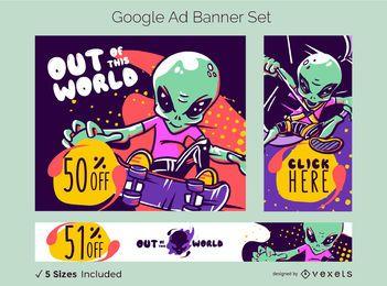 Conjunto de banner de anúncio do Google alien venda