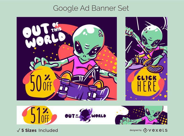 Conjunto de banner publicitario de Google de venta extranjera