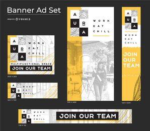 Conjunto de banners de negocios de concepto de aura