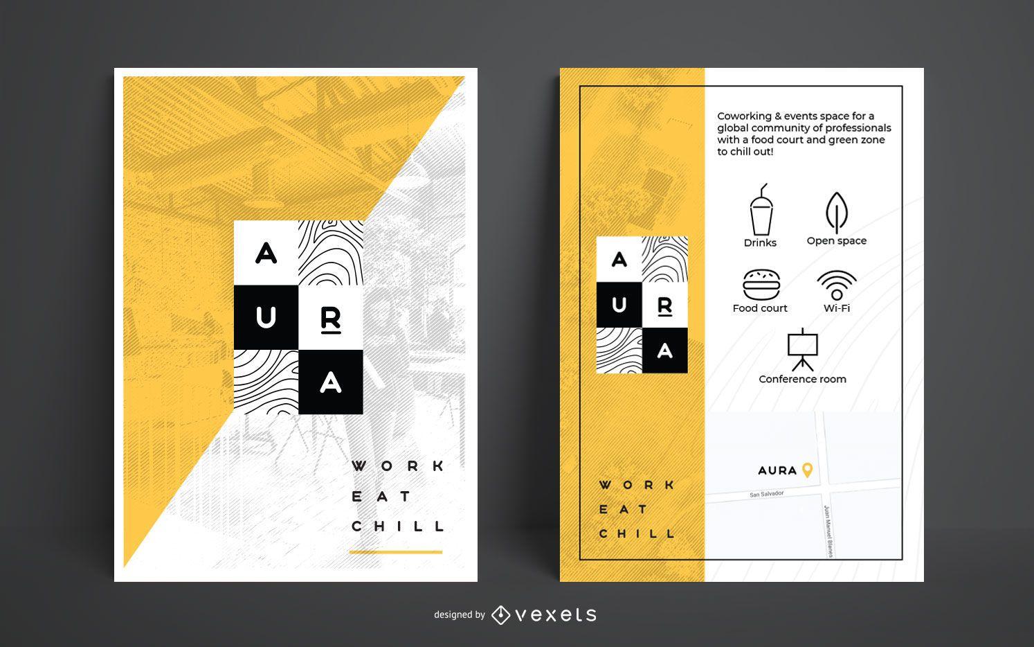 Conjunto de diseño de carteles de marca de diseñador