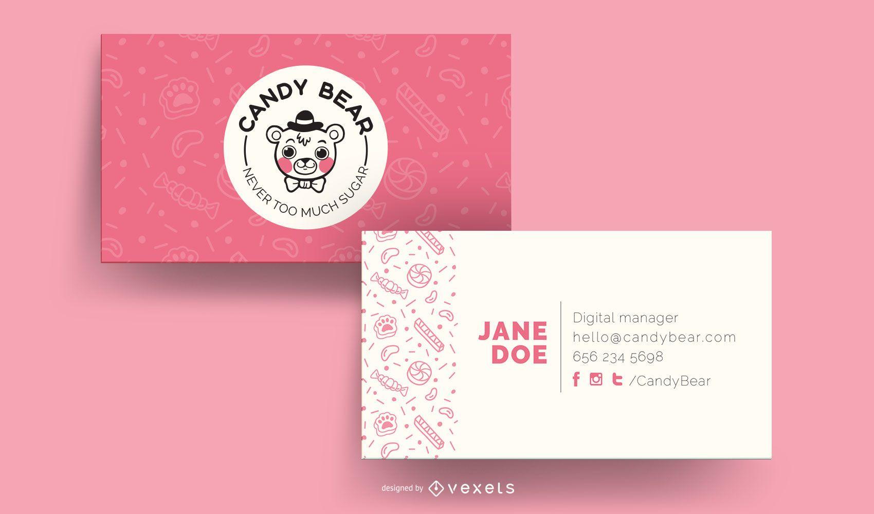 Modelo de cartão de visita Candy Bear