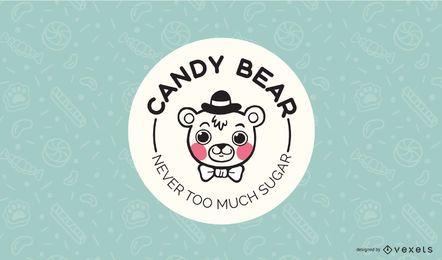 Plantilla de diseño de logotipo de Candy Bear