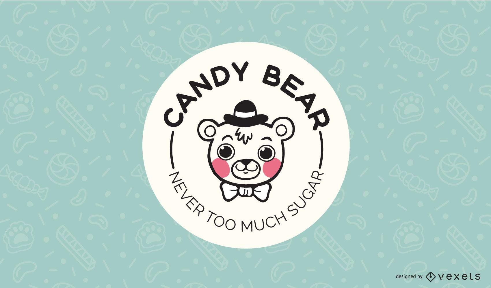 Plantilla de diseño de logotipo de oso de caramelo