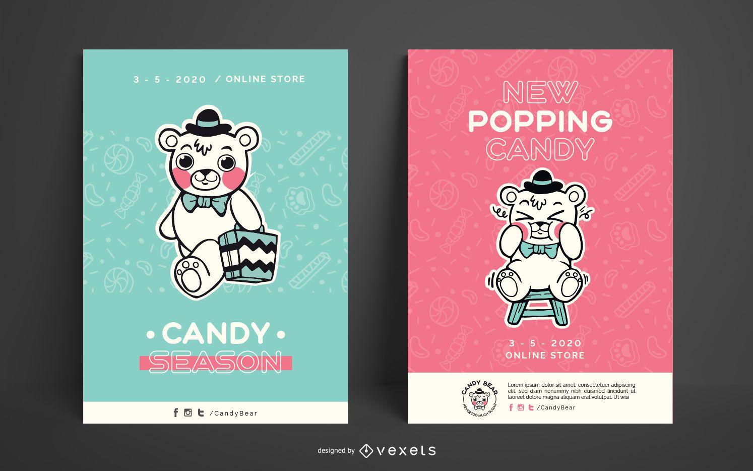 Paquete de carteles de Candy Bear