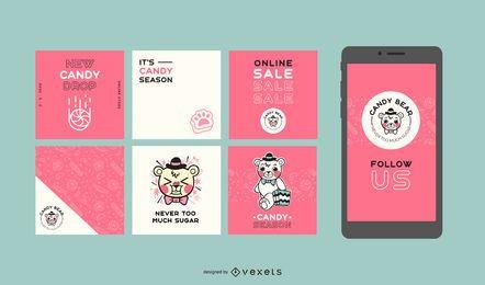 Conjunto de publicaciones sociales de Candy Bear