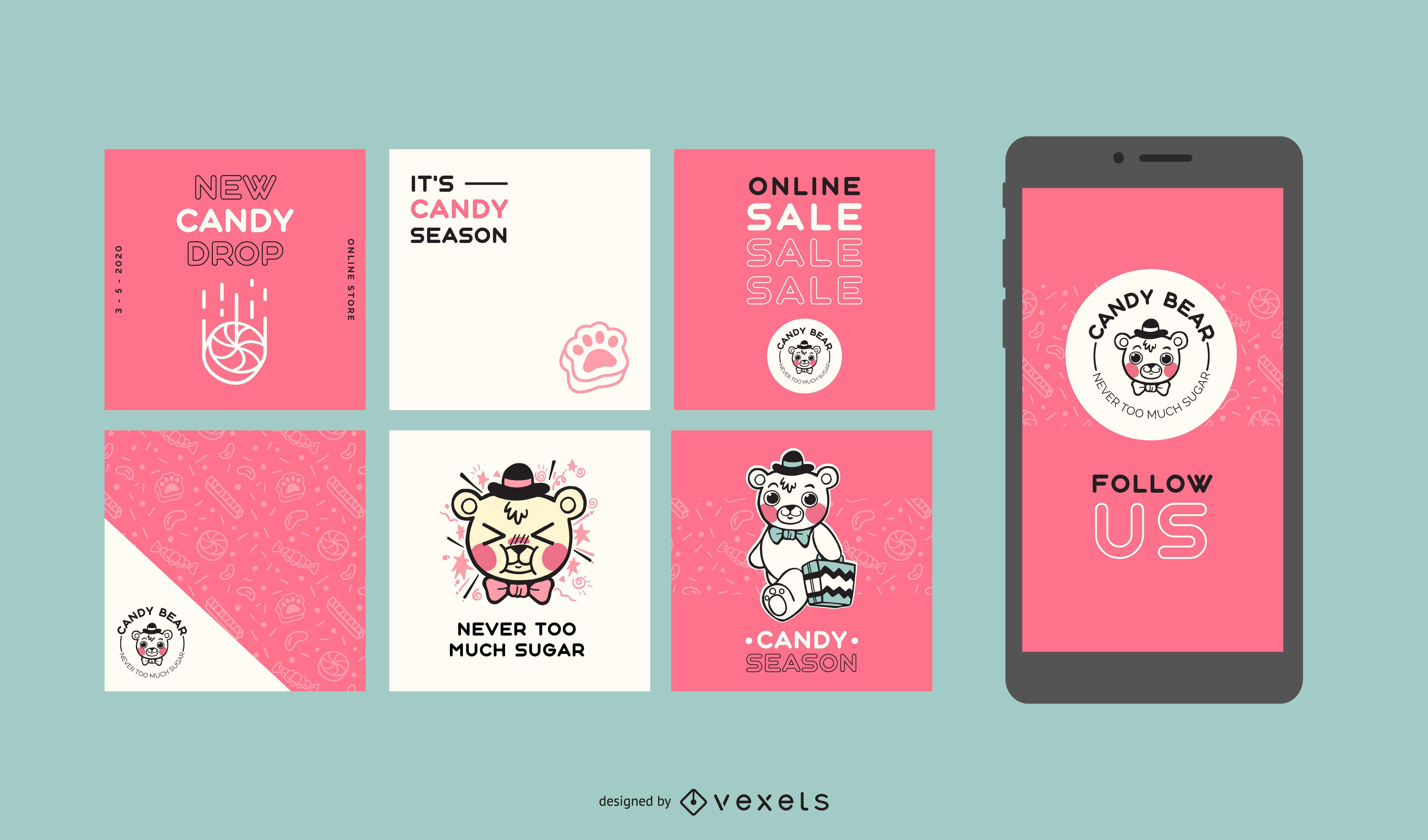 Conjunto de publicaciones sociales Candy Bear