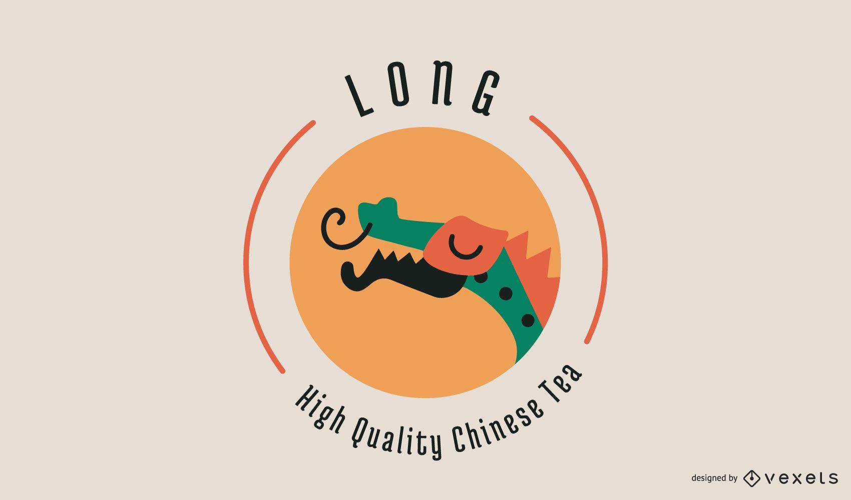 Design de logotipo do conceito de chá chinês