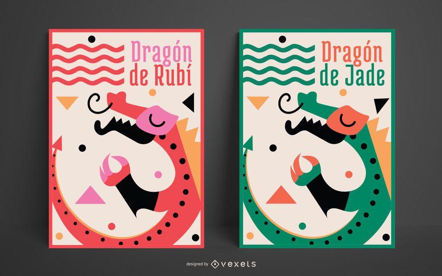 Dragon Illustration Poster Set