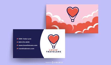 Diseño de tarjeta de visita de viajeros amorosos