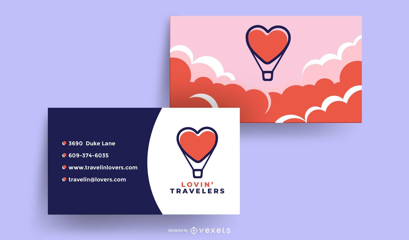 Diseño de Tarjeta de Presentación de Viajeros Amorosos