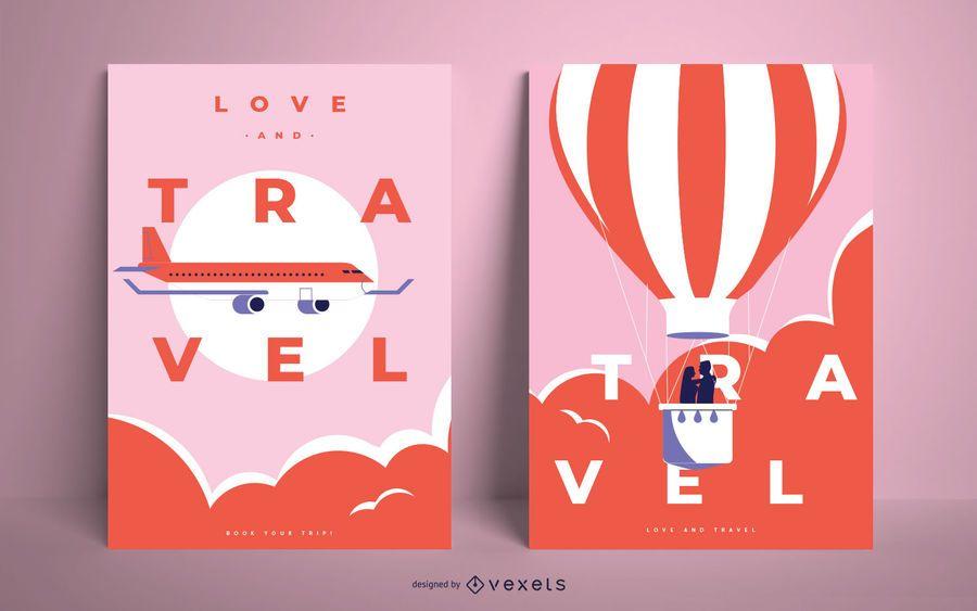 Conjunto de design de cartaz de viagens de amor