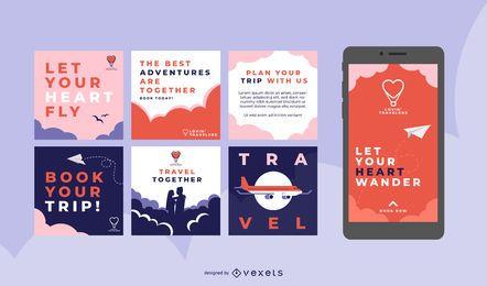 Paquete de publicaciones de redes sociales Love Travel