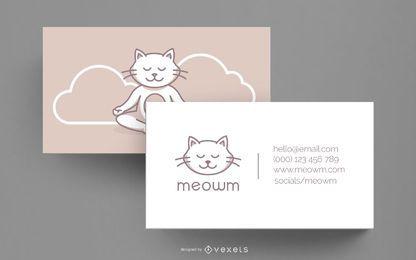 Plantilla de tarjeta de visita - yoga cat