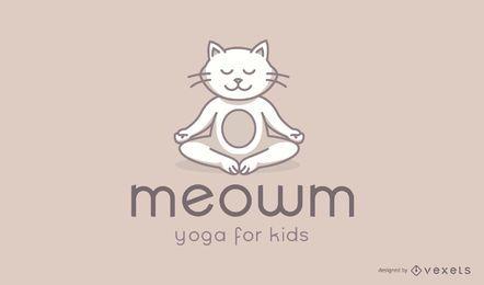 Design de logotipo de estúdio de ioga de crianças de gato