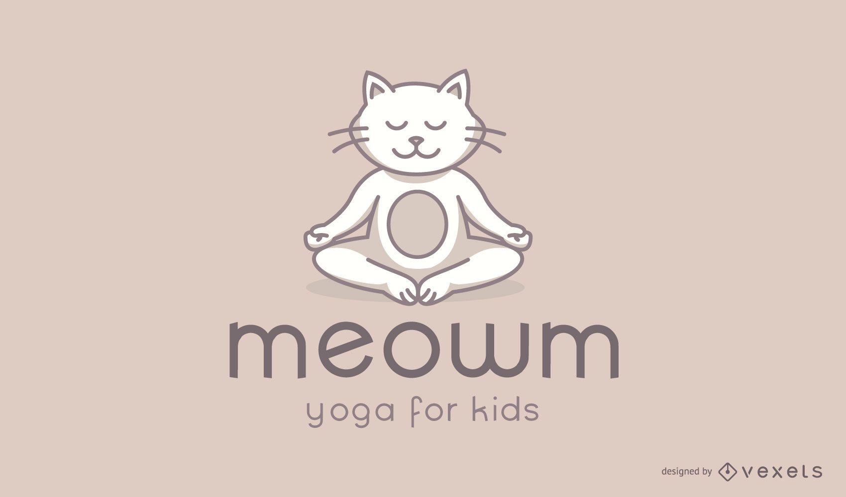 Cat Kids Yoga Studio Logo Design
