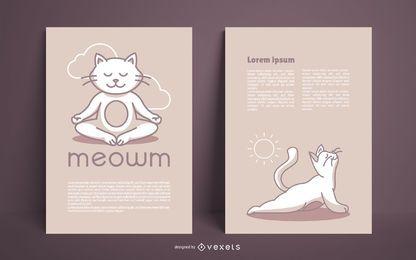 Pacote de design de cartaz de estúdio de ioga de gato