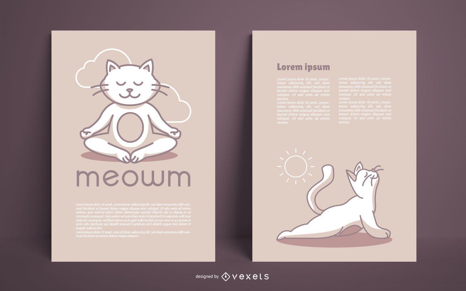 Pacote de design de pôster Cat Yoga Studio